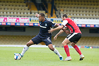 Shaun Hobson, Southend United looks to get past the attention of Tom Parkes of Exeter City during Southend United vs Exeter City, Sky Bet EFL League 2 Football at Roots Hall on 10th October 2020