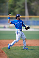 Toronto Blue Jays Devon Travis (29) throws to first base during a minor league Spring Training game against the New York Yankees on March 30, 2017 at the Englebert Complex in Dunedin, Florida.  (Mike Janes/Four Seam Images)