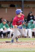 Catcher Ryan Ouzts (22) of the Presbyterian College Blue Hose in a game against the University of South Carolina Upstate Spartans on Tuesday, March 23, 2021, at Cleveland S. Harley Park in Spartanburg, South Carolina. (Tom Priddy/Four Seam Images)