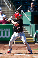 Joel Greatting (28) of the Southern Illinois University- Edwardsville Cougars at bat during a game against the Missouri State Bears at  Hammons Field on March 10, 2012 in Springfield, Missouri. (David Welker / Four Seam Images)