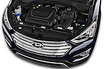 Car stock 2015 Hyundai Grand Santa Fe Executive 5 Door SUV engine high angle detail view