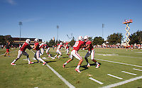 STANFORD,CA-- August 24, 2013: Team during the open practice at the Dan Elliott Practice Field Saturday.<br /> <br /> It was part the Stanford Football 2013 Open House.