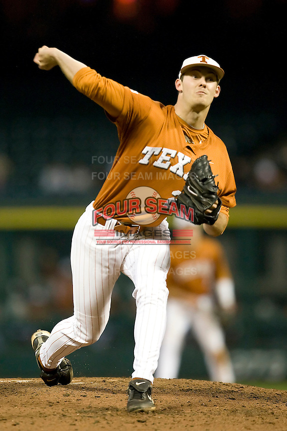 NCAA Baseball featuring the Texas Longhorns against the Missouri Tigers. Jungmann, Taylor 3646  at the 2010 Astros College Classic in Houston's Minute Maid Park on Sunday, March 7th, 2010. Photo by Andrew Woolley