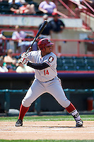 Altoona Curve first baseman Edwin Espinal (14) at bat during a game against the Erie SeaWolves on July 10, 2016 at Jerry Uht Park in Erie, Pennsylvania.  Altoona defeated Erie 7-3.  (Mike Janes/Four Seam Images)