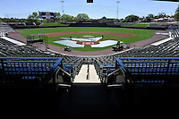 The new stadium is ready for the Columbia Fireflies on Sunday, April 3, 2016, their first day at the new Spirit Communications Park in Columbia, South Carolina. The Class A South Atlantic League Mets affiliate moved here this year from Savannah. (Tom Priddy/Four Seam Images)