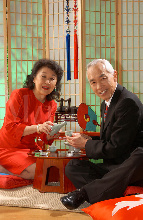 Japanese couple enjoying tea.
