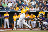 LSU Tigers third baseman Conner Hale (20) swings the bat against the TCU Horned Frogs in Game 10 of the NCAA College World Series on June 18, 2015 at TD Ameritrade Park in Omaha, Nebraska. TCU defeated the Tigers 8-4, eliminating LSU from the tournament. (Andrew Woolley/Four Seam Images)