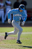 Ben Bunting (3) of the North Carolina Tar Heels hustles down the first base line versus the St. John's Red Storm at the 2008 Coca-Cola Classic at the Winthrop Ballpark in Rock Hill, SC, Sunday, March 2, 2008.