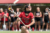 NEWTON, MA - MAY 14: Cameryn Dera #10 of Fairfield University looks to pass during NCAA Division I Women's Lacrosse Tournament first round game between Fairfield University and Boston College at Newton Campus Lacrosse Field on May 14, 2021 in Newton, Massachusetts.