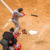 29 May 2016: St. Louis Cardinals infielder Aledmys Diaz in action against the Washington Nationals at Nationals Park in Washington, DC. The Nationals defeated the Cardinals 10-2 to split their 4-game series. Mandatory Credit: Ed Wolfstein Photo *** RAW (NEF) Image File Available ***