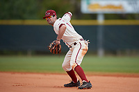 Saint Joseph's Hawks second baseman Chris Skermo (9) throws to first base during a game against the Ball State Cardinals on March 9, 2019 at North Charlotte Regional Park in Port Charlotte, Florida.  Ball State defeated Saint Joseph's 7-5.  (Mike Janes/Four Seam Images)