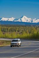 Richardson highway and mount Hayes highlighting the Alaska Range, south of Fairbanks, Alaska.