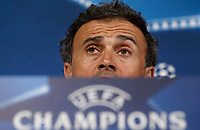 Football Soccer - Barcelona Press conference- Uefa Champions League,Juventus stadium, Turin, Italy, april 10, 2017.<br /> Barcelona's coach Luis Enrique speaks during a news conference before the match against Juventus.