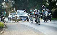 Peter Sagan (SVK/Tinkoff-Saxo) indicating that it's time for somebody else to lead the breakaway<br /> <br /> 71st Omloop Het Nieuwsblad 2016
