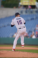 Reno Aces starting pitcher Alex Young (15) delivers a pitch to the plate against the Nashville Sounds at Greater Nevada Field on June 5, 2019 in Reno, Nevada. The Aces defeated the Sounds 3-2. (Stephen Smith/Four Seam Images)