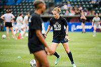 TACOMA, WA - JULY 31: Celia Jimenez Delgado #13 of the OL Reign warms up before a game between Racing Louisville FC and OL Reign at Cheney Stadium on July 31, 2021 in Tacoma, Washington.