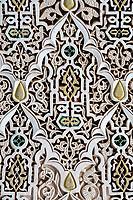 Marrakesh, Morocco.  Bahia Palace, 19th. Century.  Decorative Arabesque Stucco Work.