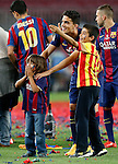 FC Barcelona's Marc Bartra celebrates with his family the victory in the Spanish King's Cup Final match. May 30,2015. (ALTERPHOTOS/Acero)