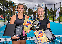 Netherlands, September 6,  2020, Amsterdam, Padel Dam, NK Padel, National  Junior Padel Championships under 14 years:   winners  Britt du Pree (NED) and<br /> Fen Rauwerdink (NED) (L)<br /> Photo: Henk Koster/tennisimages.com