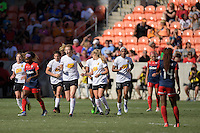 Houston, TX - Sunday Oct. 09, 2016: Samantha Mewis celebrates scoring during a National Women's Soccer League (NWSL) Championship match between the Washington Spirit and the Western New York Flash at BBVA Compass Stadium.