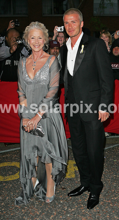 **ALL ROUND PICTURES FROM SOLARPIX.COM**.**WORLDWIDE SYNDICATION RIGHTS**.David Beckham and Dame Helen Mirren arrive at the Great Britons 2007 Awards at London Television Studios on Monday in London's South Bank in England..JOB REF:  3998   SSD     DATE: 21/05/07.**MUST CREDIT SOLARPIX.COM OR DOUBLE FEE WILL BE CHARGED* *UNDER NO CIRCUMSTANCES IS THIS IMAGE TO BE REPRODUCED FOR ANY ONLINE EDITION WITHOUT PRIOR PERMISSION*