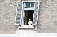 Pope Francis appears at the window of the Apostolic palace on April 13, 2020 in the Vatican, after delivering his message during a private Angelus prayer live broadcast from the palace's library on Easter Monday, during the lockdown aimed at curbing the spread of the COVID-19 infection, caused by the novel coronavirus.<br /> UPDATE IMAGES PRESS/Isabella Bonotto<br /> <br /> STRICTLY ONLY FOR EDITORIAL USE