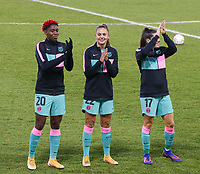Jennifer Hermoso (7 Barcelona), Asisat Oshoala (20 Barcelona), Lieke Martens (22 Barcelona), Andrea Pereira (17 Barcelona), Patricia Guijarro (12 Barcelona) and Mariona Caldentey (9 Barcelona) pictured before a female soccer game between PSV Eindhoven Vrouwen and Barcelona, in the round of 32, 1st leg of Uefa Womens Champions League of the 2020 - 2021 season , Wednesday 9th of December 2020  in , Eindhoven, the Netherlands. PHOTO SPORTPIX.BE | SPP | SEVIL OKTEM