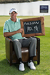 """Nicolas Colsaerts was asked by Ballantine's at the BMW Masters to describe how he stays true to himself; his answer is shown. Ballantine's, who recently announced their new global marketing campaign, """"Stay True, Leave An Impression"""", is a sponsor at the BMW Masters, which takes place from the 24-27 October at Lake Malaren Golf Club in Shanghai.  Photo by Andy Jones / The Power of Sport Images for Ballantines."""