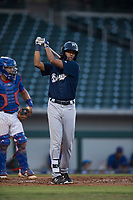 AZL Brewers right fielder Pablo Garabitos (33) follows through on a practice swing during an Arizona League game against the AZL Cubs 1 at Sloan Park on June 29, 2018 in Mesa, Arizona. The AZL Cubs 1 defeated the AZL Brewers 7-1. (Zachary Lucy/Four Seam Images)