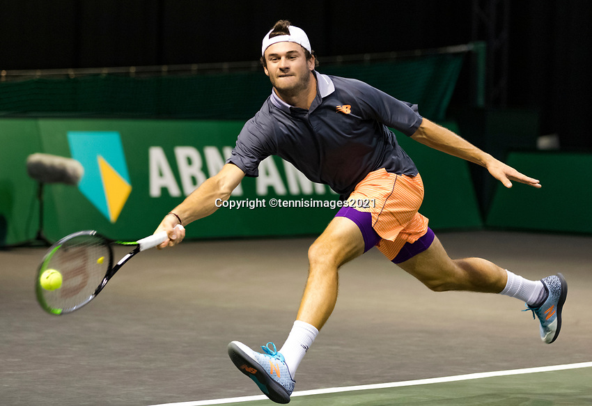Rotterdam, The Netherlands, 3 march  2021, ABNAMRO World Tennis Tournament, Ahoy, First round match: Tommy Paul (USA).<br /> Photo: www.tennisimages.com/