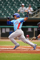 Tennessee Smokies third baseman Anthony Giansanti (9) at bat during a game against the Montgomery Biscuits on May 25, 2015 at Riverwalk Stadium in Montgomery, Alabama.  Tennessee defeated Montgomery 6-3 as the game was called after eight innings due to rain.  (Mike Janes/Four Seam Images)