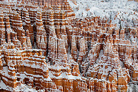 Fresh snow has fallen amongst the Hoodoos at Bryce Canyon NationalPark, Utah