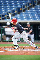 Ball State Cardinals Seth Freed (1) at bat during a game against the Alabama State Hornets on February 18, 2017 at Spectrum Field in Clearwater, Florida.  Ball State defeated Alabama State 3-2.  (Mike Janes/Four Seam Images)