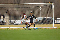LOUISVILLE, KY - MARCH 13: Yuki Nagasato #17 of Racing Louisville FC dribbles the ball during a game between West Virginia University and Racing Louisville FC at Thurman Hutchins Park on March 13, 2021 in Louisville, Kentucky.