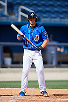 Biloxi Shuckers pinch hitter Jacob Nottingham (27) at bat during a game against the Jackson Generals on April 23, 2017 at MGM Park in Biloxi, Mississippi.  Biloxi defeated Jackson 3-2.  (Mike Janes/Four Seam Images)