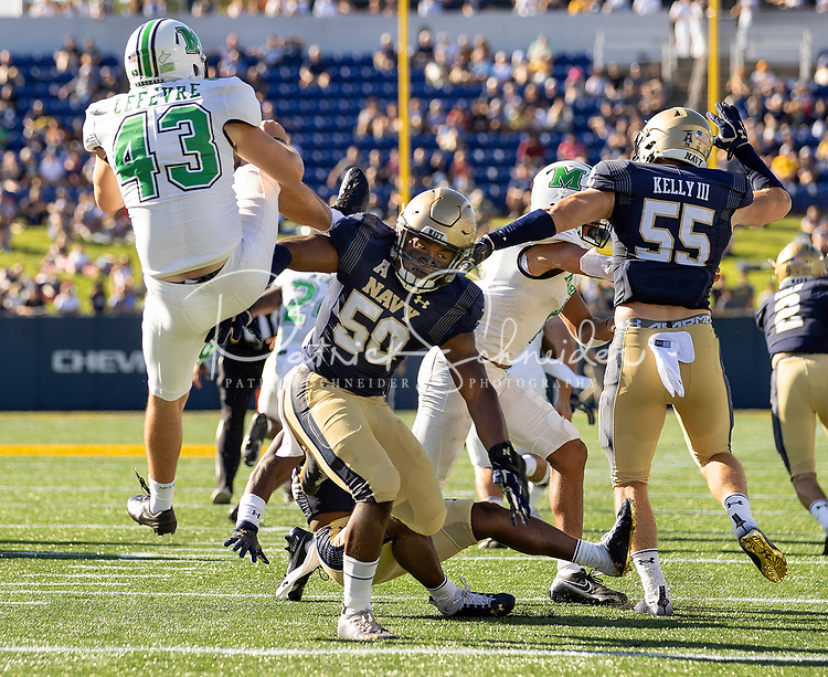 The Navy Midshipmen vs.The Marshall Thundering Herd Saturday afternoon September 4, 2021at Navy-Marine Corps Memorial Stadium in Annapolis, Maryland. <br /> <br /> Charlotte photographer - Patrick SchneiderPhoto.com