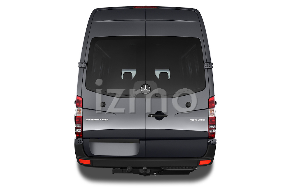 Straight rear view of a 2014 Mercedes Benz Sprinter 319 Bluetec Extra Long High roof 4 Door Cargo Van 2WD Rear View  stock images