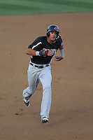 Ronald Guzman (31) of the High Desert Mavericks runs the bases during a game against the Rancho Cucamonga Quakes at LoanMart Field on August 18, 2015 in Rancho Cucamonga, California. High Desert defeated Rancho Cucamonga, 4-0. (Larry Goren/Four Seam Images)