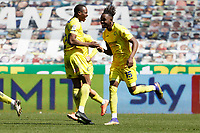 Admiral Muskwe of Wycombe Wanderers (R) celebrates his goal with a team mate during the Sky Bet Championship match Swansea City and Wycombe Wanderers at Liberty Stadium, Swansea, Wales, UK. Saturday 17 April 2021
