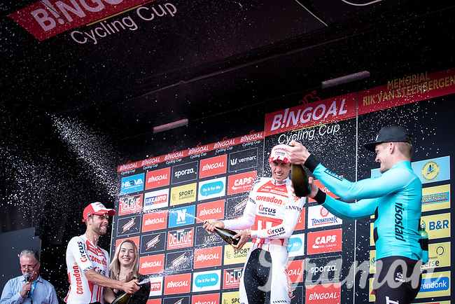 champagne shower podium with:<br /> <br /> 1st place - Dries de Bondt (BEL/Corendon Circus)<br /> 2nd place - Jimmy Janssens (BEL/Corendon Circus)<br /> 3th place - Piotr Havik (NED/Beat Cycling Club)<br /> <br /> 23th Memorial Rik Van Steenbergen 2019<br /> One Day Race: Beerse > Arendonk 208km (UCI 1.1)<br /> ©kramon