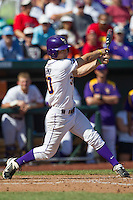 Louisiana State shortstop Alex Bregman (30) swings the bat against the North Carolina Tar Heels during Game 7 of the 2013 Men's College World Series on June 18, 2013 at TD Ameritrade Park in Omaha, Nebraska. The Tar Heels defeated the Tigers 4-2, eliminating LSU from the tournament. (Andrew Woolley/Four Seam Images)