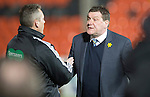 Dundee United v St Johnstone...12.03.14    SPFL<br /> Saints boss Tommy Wright in discussion with 4th official Iain Brines<br /> Picture by Graeme Hart.<br /> Copyright Perthshire Picture Agency<br /> Tel: 01738 623350  Mobile: 07990 594431