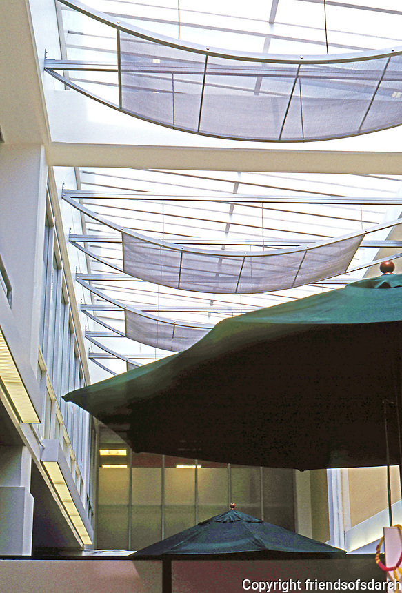 Frank Gehry: Chiat/Day/Mojo. Clerestory, sunscreens, and, if they don't do it, beach umbrellas. Interior.