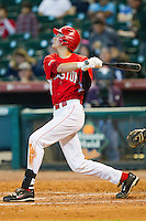 Chase Jensen #17 of the Houston Cougars follows through on his swing against the Kentucky Wildcats at Minute Maid Park on March 5, 2011 in Houston, Texas.  Photo by Brian Westerholt / Four Seam Images