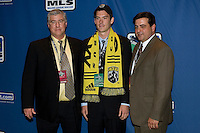 Brad Evans, second round pick of the Columbus Crew, with Head Coach Sigi Schmid, and General Manager Mark McCullers during the MLS SuperDraft at the Indiana Convention Center, Indianapolis, IA, on Jan 12, 2007. *** Correction ***