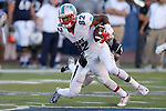 New Mexico wide receiver Delane Hart-Johnson runs against Nevada defender Matthew Lyons during the second half of an NCAA college football game in Reno, Nev., on Saturday, Oct. 10, 2015. Nevada won 35-17. (AP Photo/Cathleen Allison)