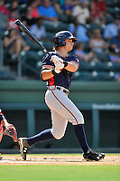 Right fielder Tyler Neslony (16) of the Rome Braves bats in a game against the Greenville Drive on Sunday, July 31, 2016, at Fluor Field at the West End in Greenville, South Carolina. Rome won, 6-3. (Tom Priddy/Four Seam Images)