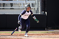 DURHAM, NC - FEBRUARY 29: Quinn Biggio #4 of the University of Notre Dame hits the ball during a game between Notre Dame and Duke at Duke Softball Stadium on February 29, 2020 in Durham, North Carolina.