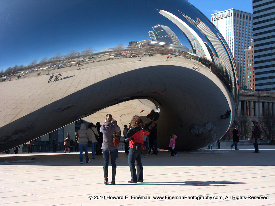 """Cloud Gate 3, Millenium Park. Known as """"The Bean"""" by Chicago residents, this public sculpture by Anish Kapoor fascinates its many visitors with distorted views of the skyline and the visitors, often in combination."""