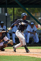 GCL Yankees 1 outfielder Terrance Robertson (81) at bat during the first game of a doubleheader against the GCL Tigers on August 5, 2015 at Tigertown in Lakeland, Florida.  GCL Tigers derated the GCL Yankees 5-2.  (Mike Janes/Four Seam Images)